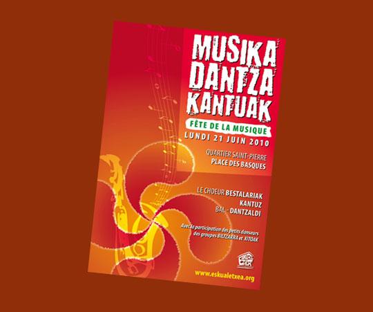 Cartel de la 'Musika Besta' del próximo lunes en Eskual Etxea de Burdeos.