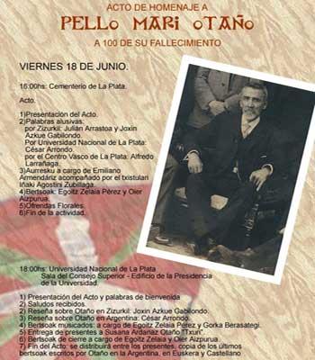 Pello Mari Otañoren heriotzaren mendeurreneko omenaldiko egitaraua