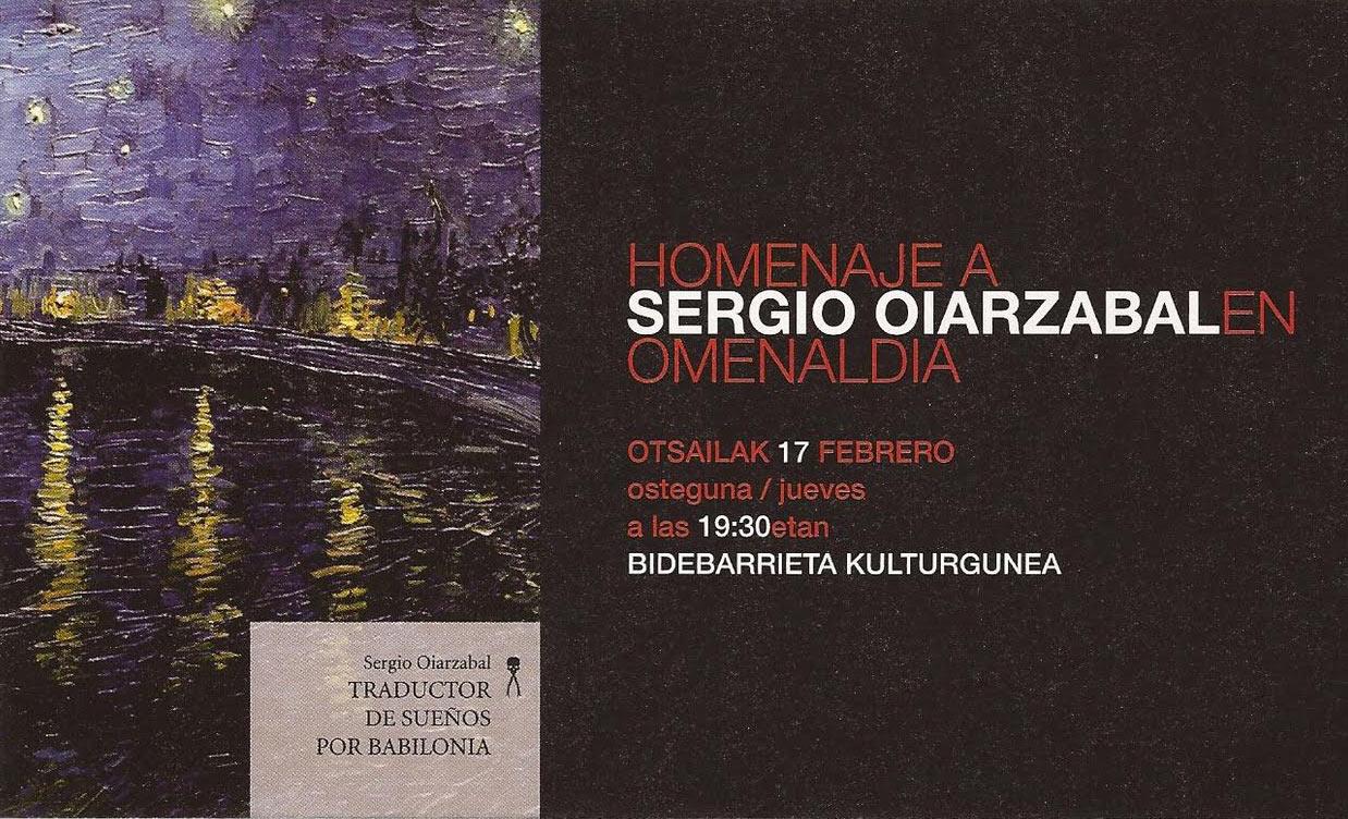 El homenaje tendrá lugar este jueves a partir de las 19:30 en la Biblioteca Bidebarrieta de Bilbao. Se leerán fragmentos de su obra, con acompañamiento musical