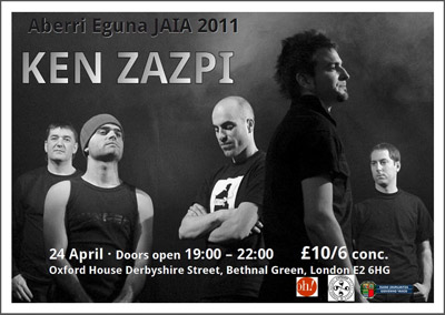 Cartel del concierto londinense de Ken Zazpi