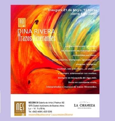 Afiche promocional de la muestra 'Trazos itinerantes' de Dina Rivera