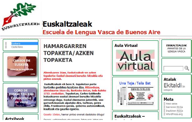 Euskaltzaleak-en web gunearen hasierako orria