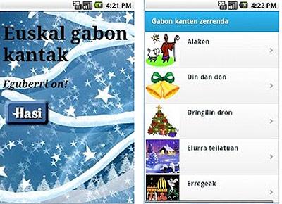 """Algunas de las canciones que incluye la aplicación """"Gabon Kantak"""""""