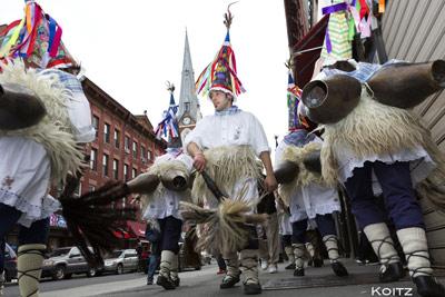 Zanpantzar from Berriozar marching through Brooklyn suprised the locals (photo Koitz)