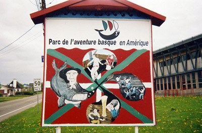 Welcome sign at the Park of Basque Adventure in Quebec