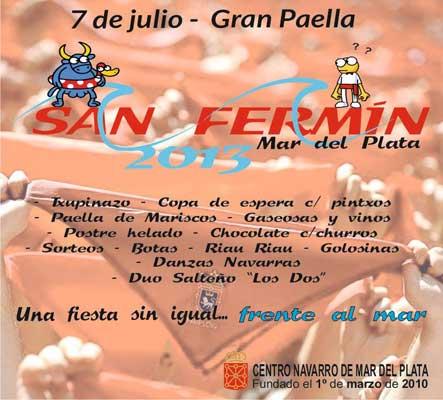 Invitation to this year's San Fermin celebration from the Centro Navarro in Mar del Plata
