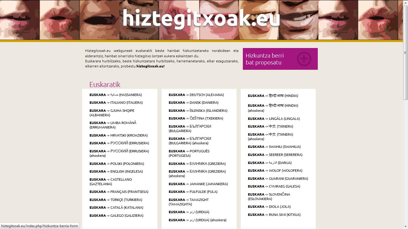 Portada de la web hiztegitxoak.org, que reúne traducciones entre el euskera y 35 lenguas de todo el mundo