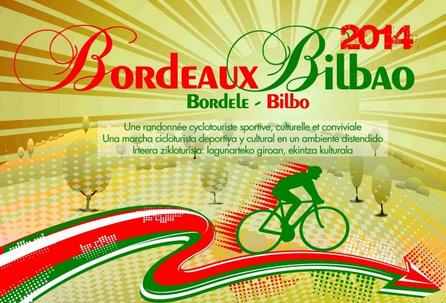 Cartel anunciador de la marcha cicloturista Bordele-Bilbo 2014