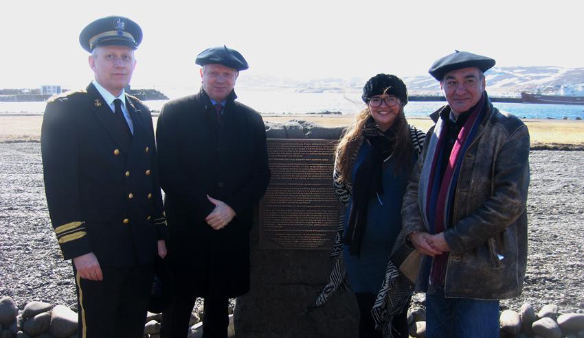 The commemorative event in Holmavik with Jónas Guðmundsson Sherriff of the West fjords in Iceland; Illugi Gunnarsoon, Minister of Culture, Esther Ösp Valdimarsdóttir, for Holmavik and Martin Garitano the Deputy General of Gipuzkoa.