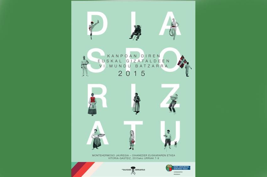 cartel del VI Congreso Mundial de Colectividades Vascas  en el Exterior