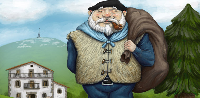 Smiling, with a pipe in his mouth, the Olentzero is who brings gifts to Basque children (Image: E.K.)