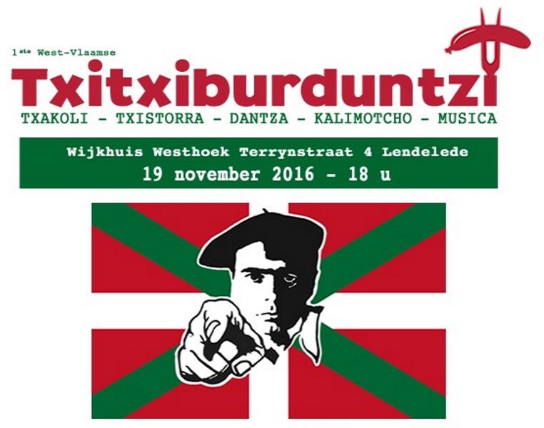 Cartel del Txitxiburduntzi que tendrá lugar el sábado 19 de noviembre en Bélgica