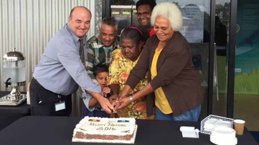Ramon Jayo Astorquia cuts the cake at a party in the Council of Hinchinbrook Shire (photoRJA)