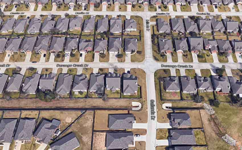Durango Creek Drive Magnolia Texas (arg. Google Earth)