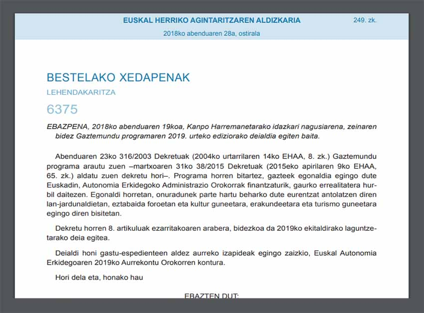 Call for Gaztemundu 2019 published today in the Official Bulletin of the Basque Country (EHAA-BOPV)