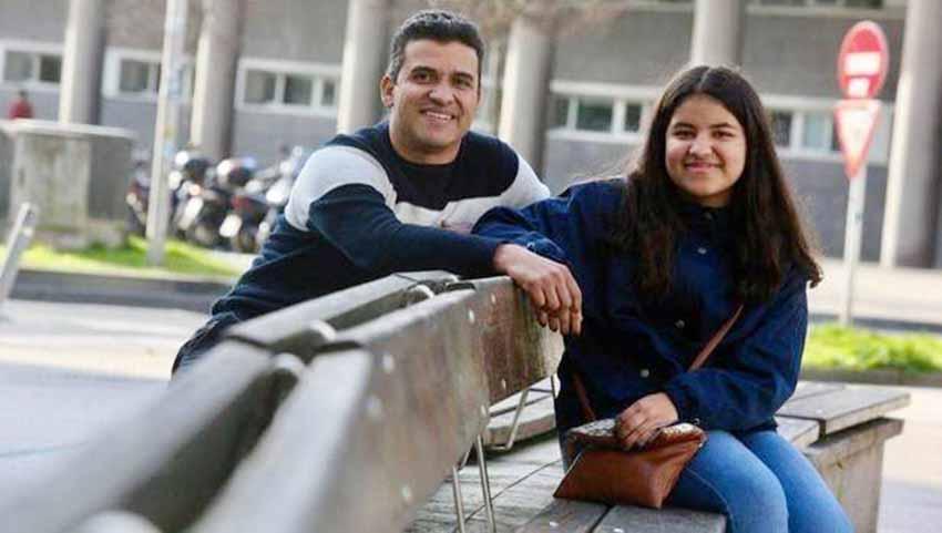Aimara Marrero, acompañada por su padre Álvaro (foto Javi Colmenero-NDG)
