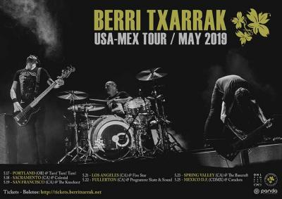 Tour poster for Berri Txarrak's tour of the US and Mexico in May of 2019