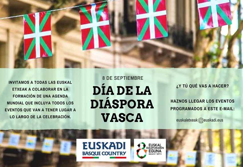 The Basque Government encourages everyone to celebrate Basque Diaspora Day and send the information to them ahead of time