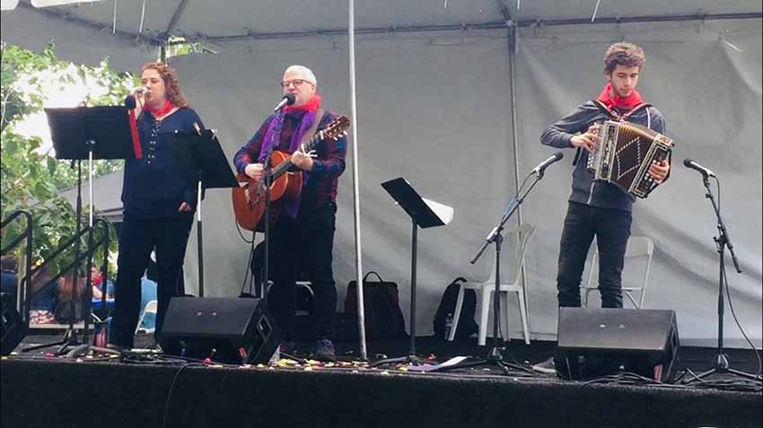 Andrea Bidart with Mikel Markez and Julen Alonso singing last May at the NABO Convention and Basque Festival in Bakersfield, CA