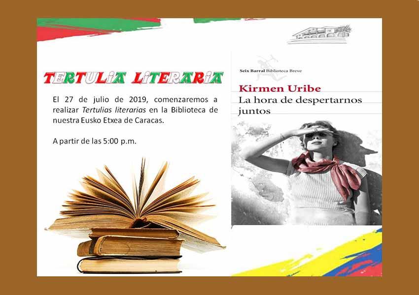 Cartel con la invitación este próximo sábado al encuentro literario de Eusko Etxea de Caracas