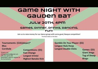 Spend an enjoyable Saturday evening surrounded by friends and Basque atmosphere, while helping the dantzaris of Gauden Bat