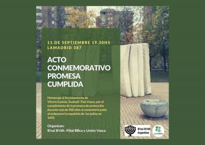 "The ""Commemorative Act of the Accomplished Promise"" will be this afternoon in Bahia Blanca Lamadrid 378 at 7:30pm"