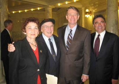Freda and Pete Cenarrusa, the then Lieutenant Governor Brad Little and Roy Eiguren in an arcgive image