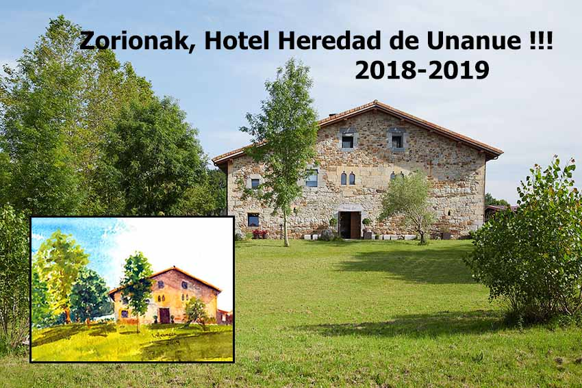 Celebrating our first anniversary of the opening of Hotel Unanue, watercolor by Lourdes Hermoso of the Unanue-Zar farmhouse