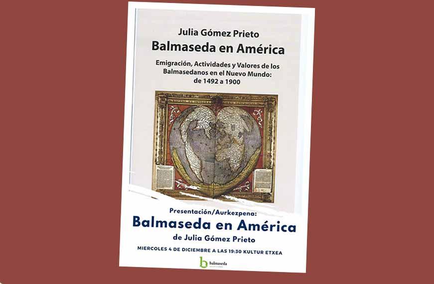 """""""Balmaseda en América""""k Julia Gómez Prieto historialaria du egile"""