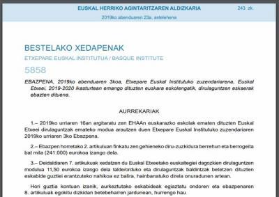 Guztira 240.994,00 euro banatu ditu Etxepare Institutuak Euskal Etxe eta federazioetan 2019-2020 ikasturtean