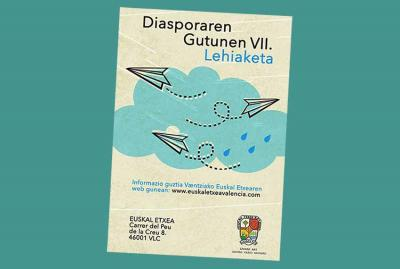 """Poster announcing the 7th Literary Contest """"Letters from the Diaspora"""" organized by the Euskal Etxea in Valencia"""