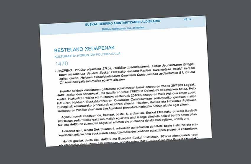 Martxoaren 10eko EHAA buletinean argitaratutako deialdia