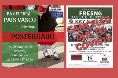 """Dos de los festivales vascos de las próximas semanas cancelados, el """"Buenos Aires Celebra"""" y la Fiesta Vasca de Fresno, California"""