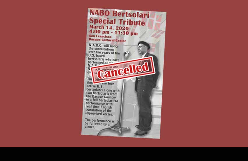 Cancellation of NABO's US Bertsolari Tribute this Saturday in San Francisco