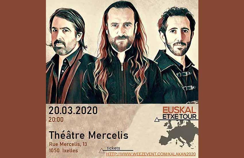 Kalakanen Bruselako kontzertuko jatorriko kartela, Bruselako Euskal Etxea antolatzaile