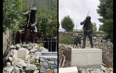 Ezkerrean, Euskal Artzainaren Estatua, Sparks-en zegoenean eta, eskuinean, behin-betiko lekua izango duen unibertsitatean