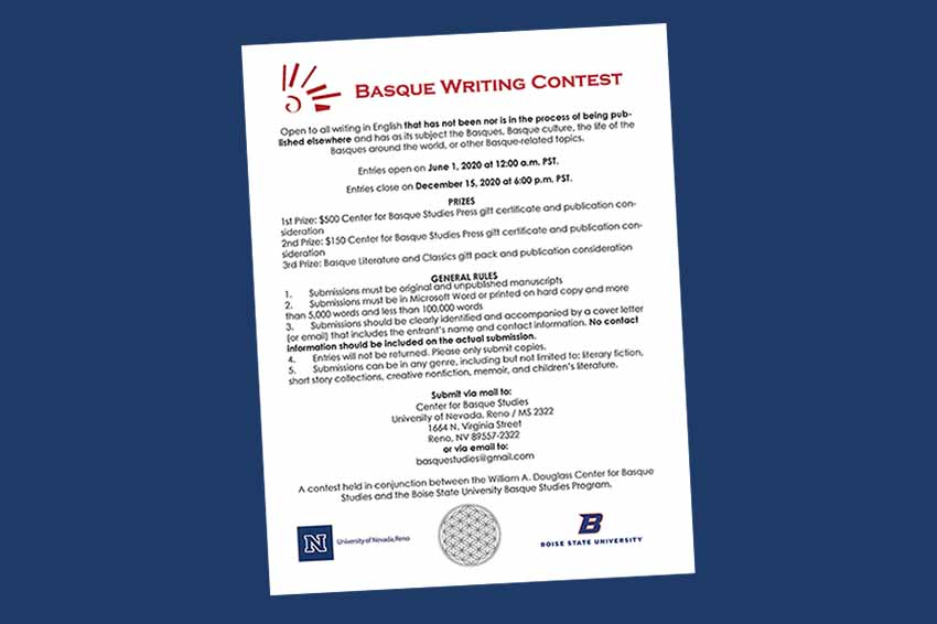 La Universidad de Nevada, Reno convoca el 'Basque Writing Contest' junto a la Boise State University