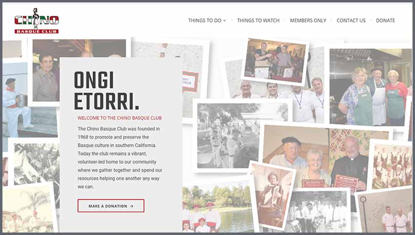 Chino Basque Club's website after the latest changes