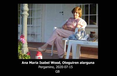 Koan den igandean hild a Pergaminon (Argentina) Ana Maria Isabel Wood gure lankide Sabrina Oteguiren ama