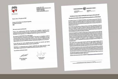 FEVA's note; as well as that from the Basque Government's Delegation in Argentina requesting rectification of remarks by President Fernandez