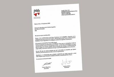 Letter from FEVA to Argentina's President, Alberto Fernandez, negating his affirmations and expressing disgust