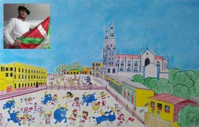 Barranquillatik bidali diguten irudia, Sanferminak Barranquillako plaza nagusian, Jacinto Sarasua ohoratuz  Vicente Fararonyk egina