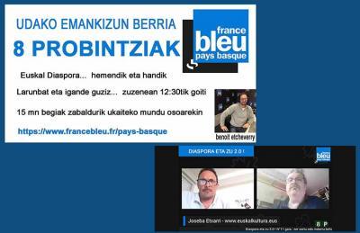 """Benoit Etcheverry udako saio berria izango du euskaraz France Blue Pays Basque-n; bestalde, igande honetan Joseba Etxarrirekin solastuko da online """"Diaspora eta Zu 2:0"""" bere tartean"""