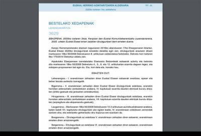 Euskal Herriko Agintzaritzaren Aldizkaria (EHAA-BOPV) Euskal Etxeentzako 2020ko dirulaguntzak banatuz