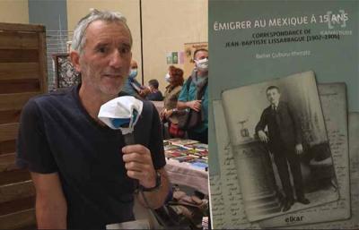 """Beñat Çuburu Ithorotz """"Emigrer au Mexique à 15 ans"""" aurkezten 2020ko Sarako Idazleen Biltzarrean (arg Kanaldude)"""