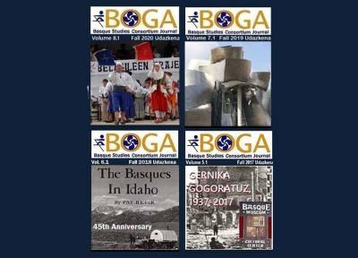 """Covers of the last four Issues of the Basque Studies journal in English """"Boga"""""""