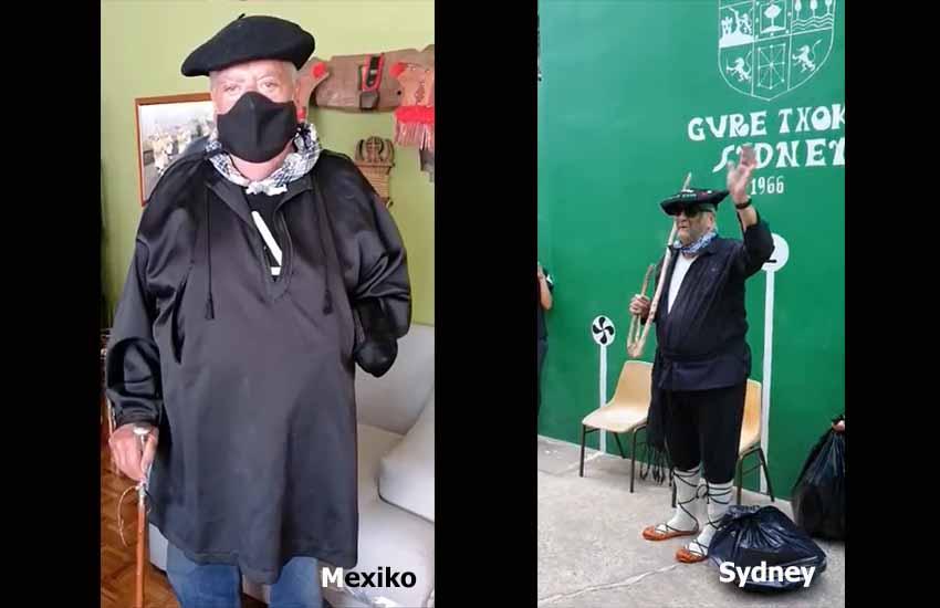 Dos últimas imágenes, con Olentzero saludando a niños y niñas de las Euskal Etxeas de Sídney y Ciudad de México