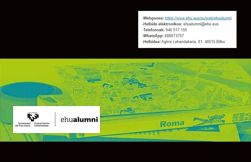 EHUalumni es la asociación que reúne a antiguos alumnos y alumnas de la Universidad del País Vasco-Euskal Herriko Unibertsitatea