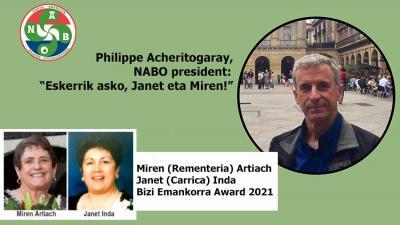 Boiseko Miren (Rementeria) Artiach eta Renoko Janet (Carrica) Inda dira 2021eko NABO Bizi Emankorra sariak (milesker BBM&CC)