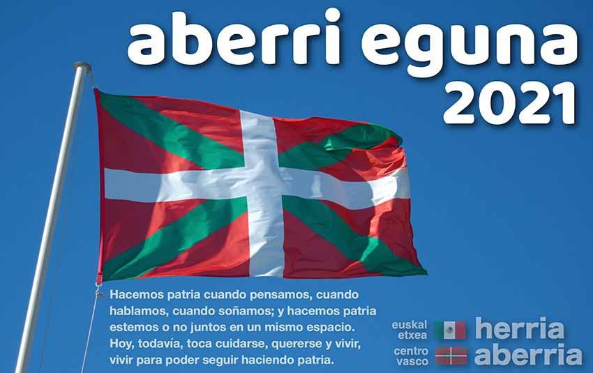 Aberri Eguna 2021 poster at the Euskal Etxea in Mexico